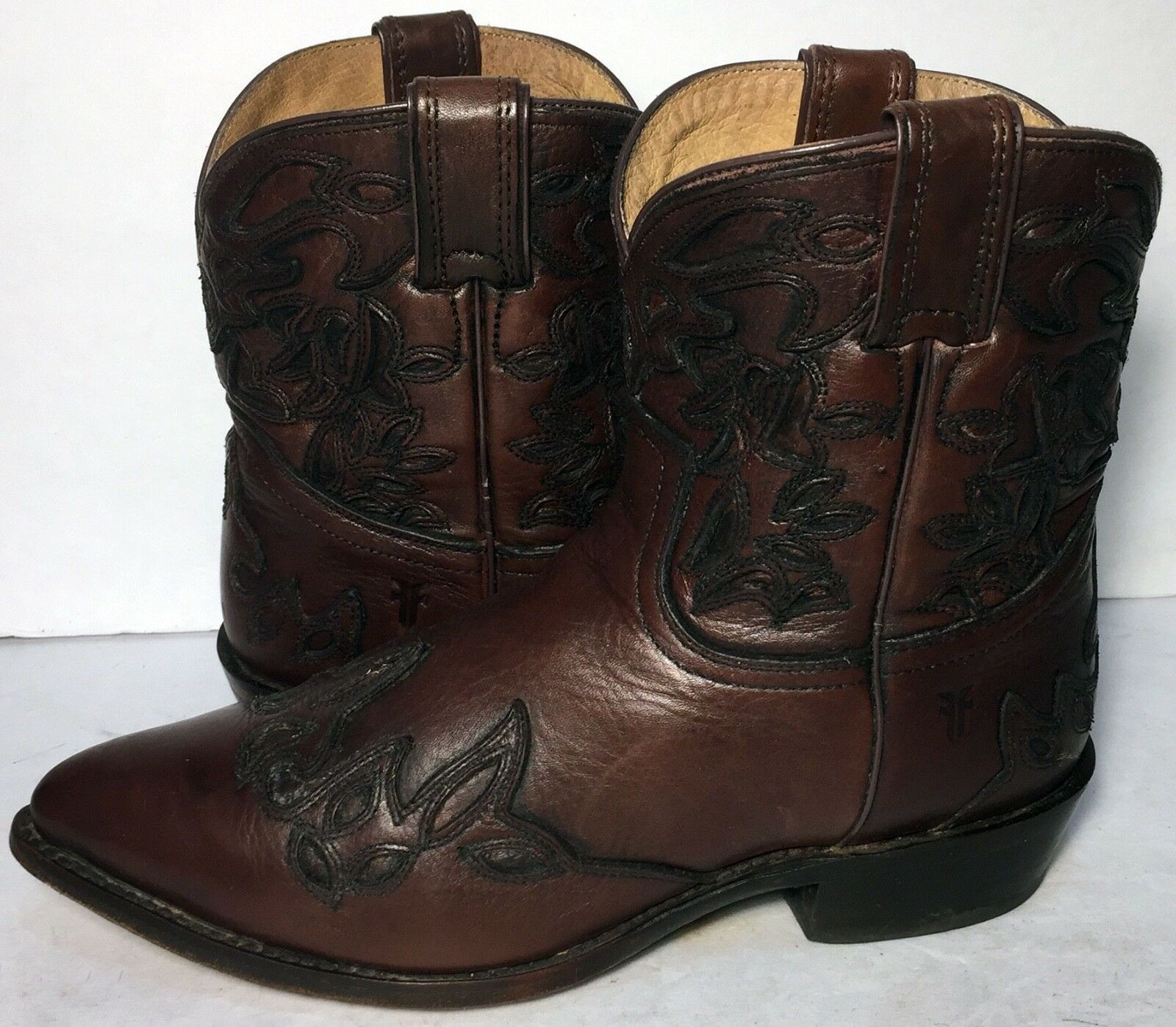 Frye 76042 Wyatt Short Short Short Brown Leather Western Cowgirl Boots Women's Size 9.5 5a5c35