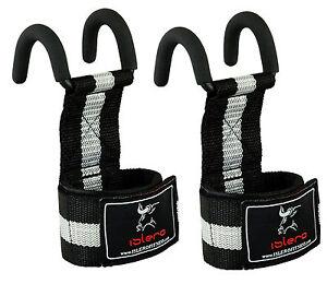 EVO-Weight-lifting-Metallic-Hook-Gym-Straps-Neoprene-wrist-Support-Wraps-grips