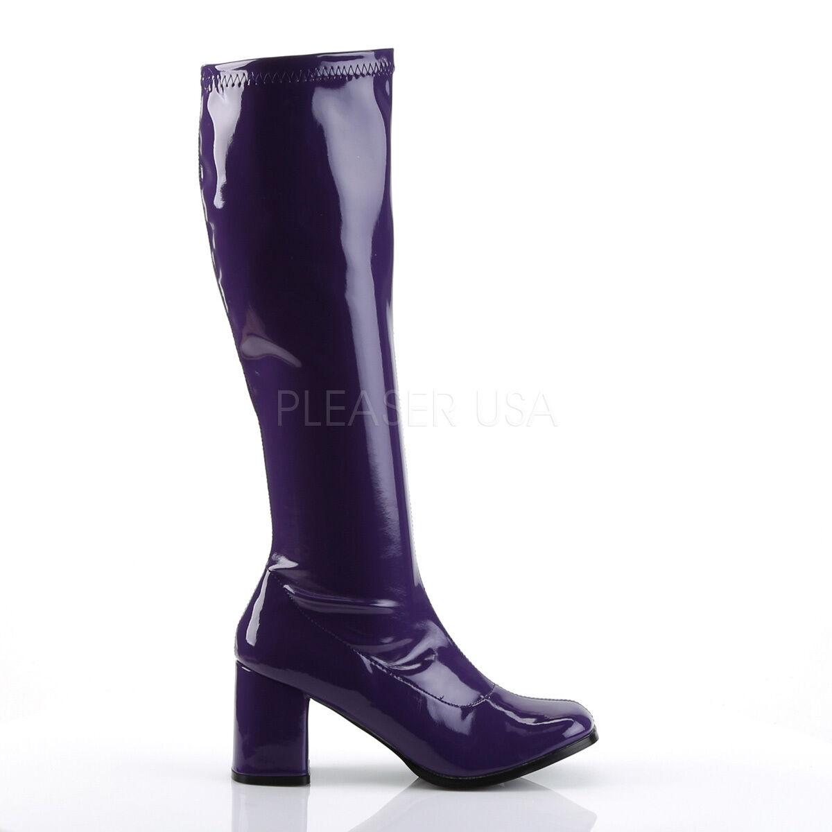 Sexy 3  High Heel Gogo Dancer Purple Knee Boots Halloween Costume GOGO300 PUR