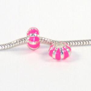 3-Beads-Neon-Pink-Enamel-Barrel-Silver-European-Bead-Charm-E0772