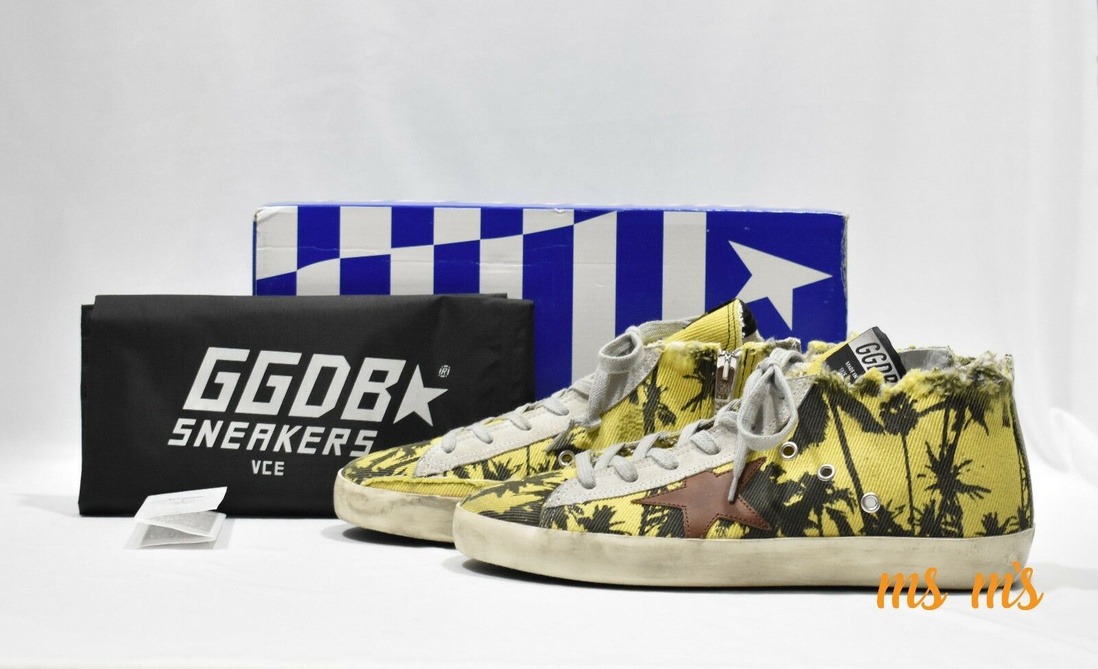 Golden Goose DELUXE BRAND Francy Palm Print High Top Sneaker size us 8