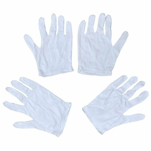 Ladies White Cotton Thin Full Fingers Work Driving Gloves S 2 Pairs Y1L2