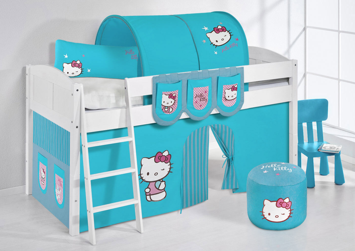 Spielbett surelevé lit enfant 4106 LILOKIDS HELLO KITTY turquoise