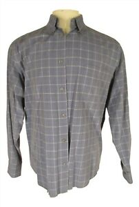 Ermenegildo-Zegna-Mens-Blue-Plaid-Long-Sleeve-Cotton-Shirt-L-Italy