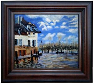 Framed-Sisley-Bank-during-Flood-Repro-Quality-Hand-Painted-Oil-Painting-20x24in