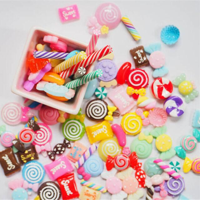 10Pcs DIY Phone Case Decor Crafts Miniature Resin Lollipop Candy Dollhouse E9C