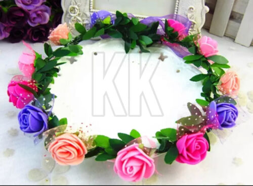Flower Garland Headband Festival Crown Boho Wedding Brides Prom Beach 25 colour