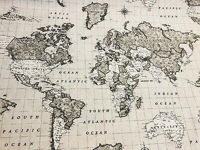 Mapa del mundo Beige 3-material de algodón Tapicería Cortina Atlas Vintage 280cm de ancho