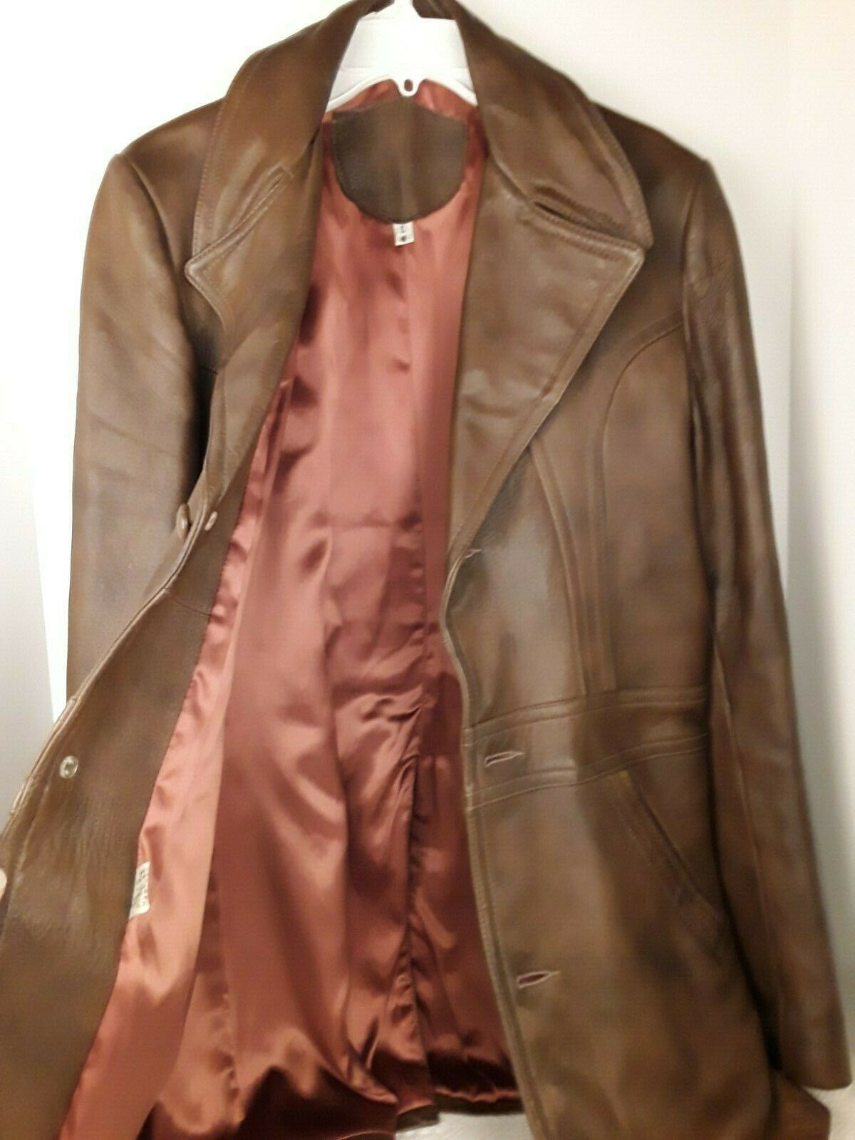 Mens Genuine Brown Leather Coat Fitted Retro 70's… - image 4