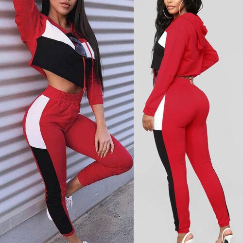 US 2Pcs Women/'s Tracksuit Hoodies Sweatshirt Pants Sets Sport Wear Casual Suits