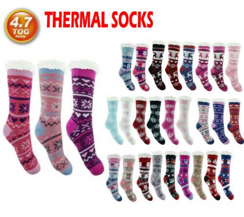 Ladies Thermal Socks Extra Thick SHERPA Heat Womens Warm Fleece 4.7 Tog