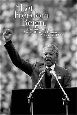 NELSON MANDELA - SPEECH POSTER - 24x36 INSPIRATIONAL LET FREEDOM REIGN 33865