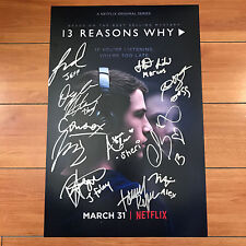 13 REASONS WHY SIGNED 12x18 TV POSTER BY 11 CAST MEMBERS w/ PROOF HANNA BAKER