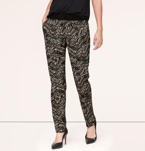 Ann Taylor LOFT Wild Prairie Print Fluid Ankle Pants in Marisa Fit Size 0 Petite
