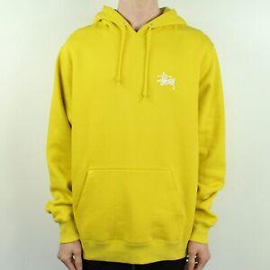 Stussy-Basic-Logo-Hooded-Sweatshirt-Hoodie-in-Lemon-Yellow-in-Size-M-L