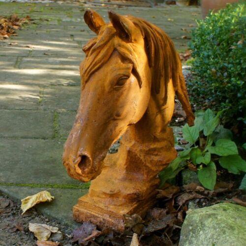 filigrane Eisen Skulptur Pferdekopf für Mauer-Pfeiler Garten-Mauer-Dekoration