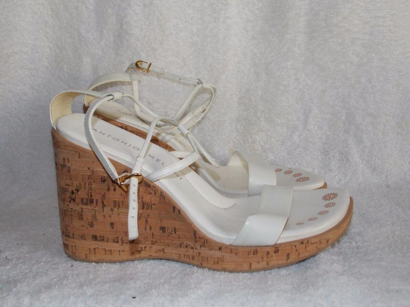 Antonio Melani White Leather Strappy Open Toe Cork WEDGE Sandals 10M Used