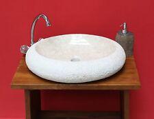 Marmor Waschbecken Steinwaschbecken Becken Basin Handwaschbecken Oval Creme 50cm