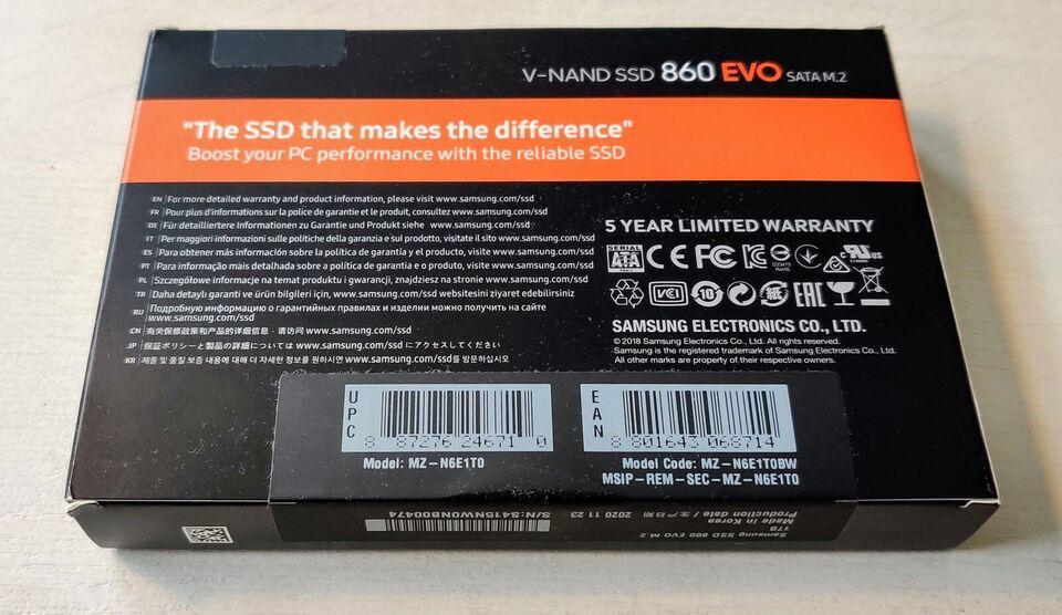 SAMSUNG 860 EVO SATA M.2 1TB V-NAND SSD, 1000 GB, Perfekt