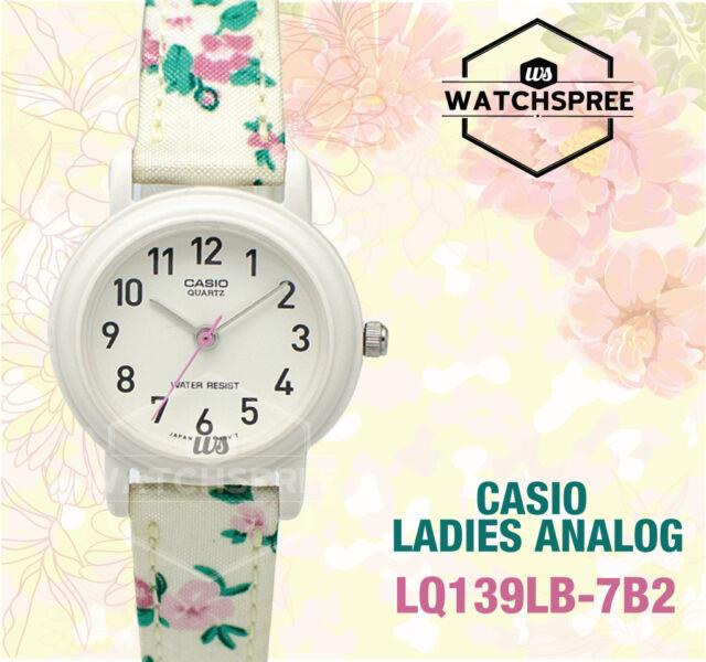 8789d294f Casio Classic Ladies Analog White Floral Cloth Band Watch Lq-139lb ...
