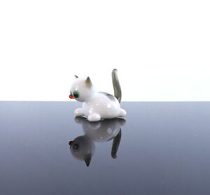 Image Is Loading Cute Kitten Glass Miniature Amazing Gift For Cat