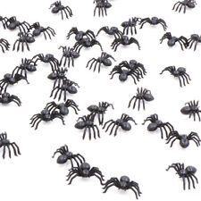 50pcs Black Plastic Fake Spider Toys Halloween Joke Prank Realistic Props RDFJ