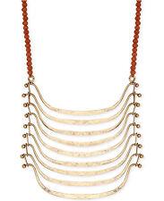 NWT Lucky Brand Gold-tone Pendant & Carnelian Stone Bead Necklace