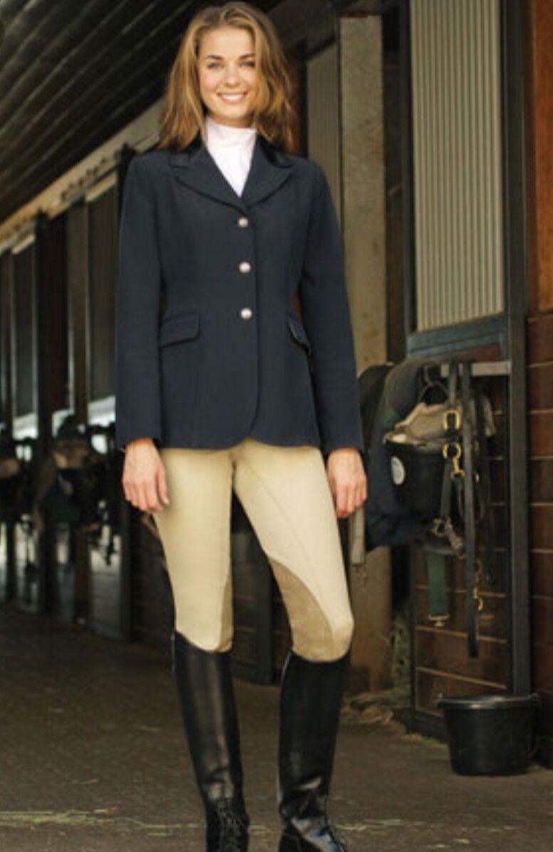 USG Donna Horse mostrare Equitazione Montato Cappotto Giacca Nero Taglia 36