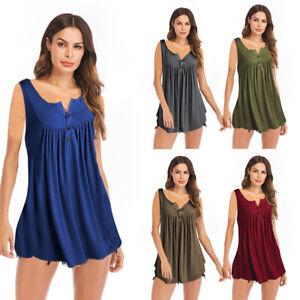 Women-Ruffle-O-Neck-Swing-Tunic-Blouses-Button-Sleeveless-Casual-Shirt-Tank-Tops