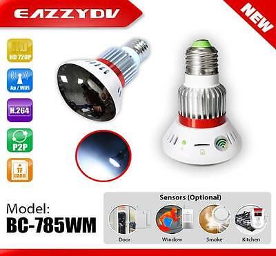 Mirror WiFi Bulb IP Network DVR Camera with 5W White LED wireless alarm sensor