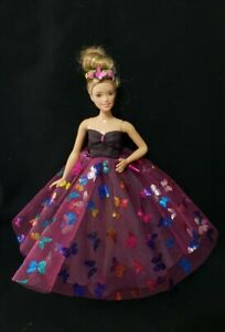 New-Curvy-butterfly-tulle-mesh-dress-gown-for-your-Barbie-Doll-Au-Made