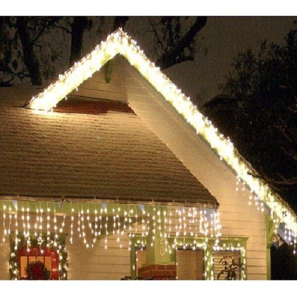 LED Eisregen Lichterkette Lichterkette Lichterkette 480er 12m warmweiß-weiß aussen FHS 14452 a78222