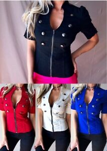SEXY-Corset-Style-Exposed-Zip-Buckle-Detail-Embellished-Fitted-Club-Blazer-Top