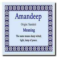 Amandeep Personalised Name Meaning Coaster