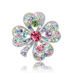 Diamante-Silver-and-Colourful-4-Leaf-Clover-Bridal-Lucky-Brooch-Pin-BR246