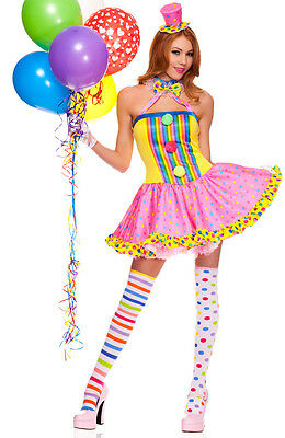 Sexy Adult Halloween Circus Cutie Clown Costume w Thigh-High Stockings & Gloves