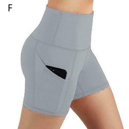 Womens High Waist Yoga Shorts Pocket Gym Cycling Biker Hot Pants Sports Legging