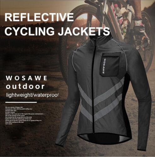 Reflektierend Herren Winddichte Fahrradjacke Wasserabweisend Lange Wind Mantel