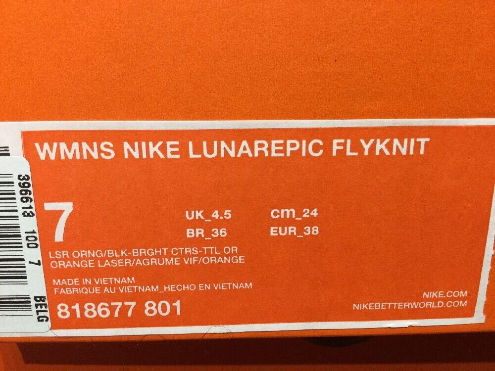 Nike Lunarepic Flyknit ~ ~ Laser Orange ~ 818677 801 ~ Flyknit Uk Size 4.5 7e766e