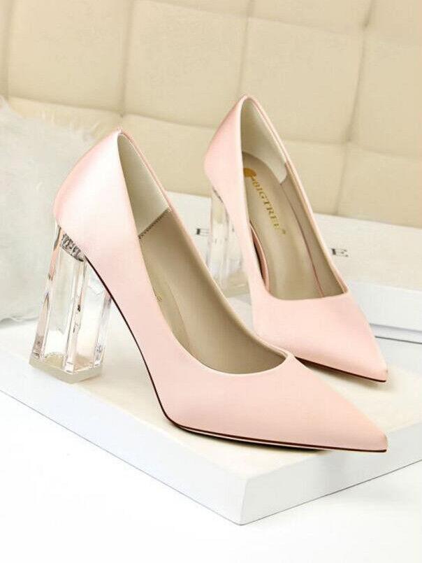 Zapatos de salón salón salón transparente elegantes rosadodo talón cuadrado 10 como piel 1744  precios al por mayor