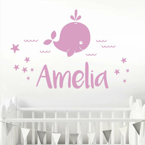 Baby Whale Sea Waves /& Stars Personalised Name Decal Nursery Wall Sticker