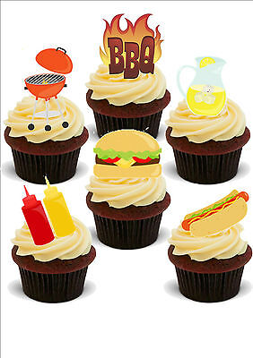 NOVELTY BBQ MIX STAND UP Icing Edible Cake Toppers Barbecue Summer Birthday