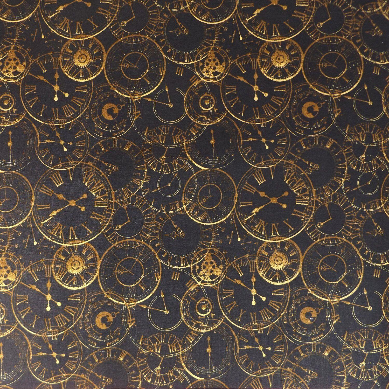 Steam Punk Clocks Black// bronze 100/% cotton fabric 112cm wide sold per 1//2 metre