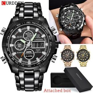 CURDDEN-Mens-LED-Digital-Quartz-Wrist-Watch-Chronograph-Black-Stainless-Steel
