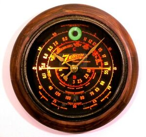 Old-Antique-Style-Zenith-Black-Dial-Wood-Clock-New-Clock-with-Tube-Radio-Style