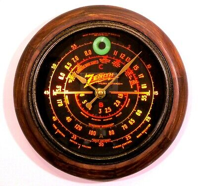 New Clock with Tube Radio Style Old Antique Style Zenith Black Dial Wood Clock