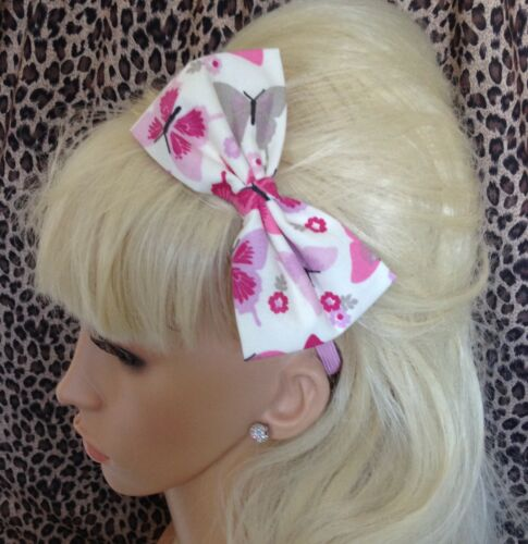 "WHITE PINK BUTTERFLY FLORAL PRINT COTTON FABRIC 5/"" SIDE BOW ALICE HAIR HEAD BAND"