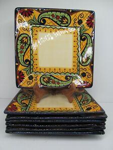 "Corsica Crown Jewel Square 10 3/8"" Dinner Plates Set Of 7 Plates Read Descript"
