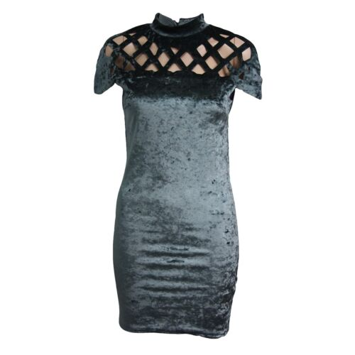Women Ladies Crushed Velvet Caged Laser Cut Out Bodycon Short Sleeve Mini Dress