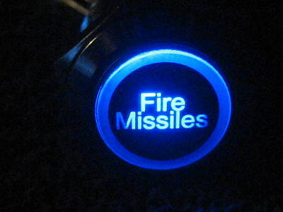 New 12V BLUE LED Fire Missiles Momentary Metal Switch 19mm Push Button Lighted